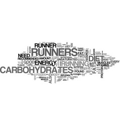 what should be in a runners diet text word cloud vector image