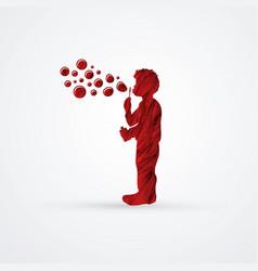 a little boy blowing soap bubbles graphic vector image