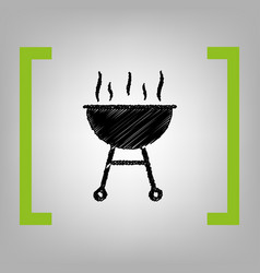 barbecue simple sign black scribble icon vector image vector image