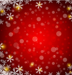 Christmas red background with snowflake and lights vector image vector image