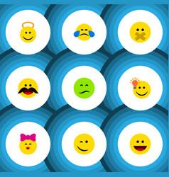 Flat icon emoji set of angel laugh hush and vector