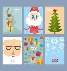 Set Christmas cute cards Beautiful congratulations vector image