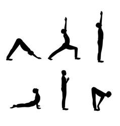 set of men yoga poses vector image