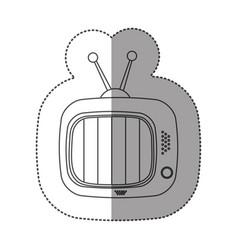 sticker contour of tv set icon flat vector image