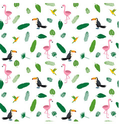 tropical seamless pattern with pink flamingos vector image vector image