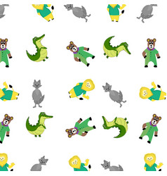 zoo pattern with cartoon animal vector image vector image