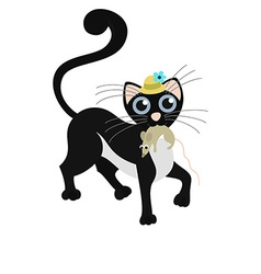 Black cat keeps the mouse vector image vector image