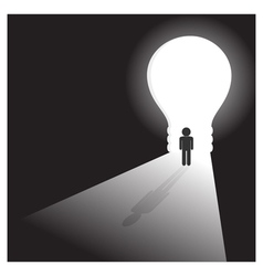 Businessman in front of a bright light bulb door vector image