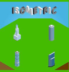 Isometric building set of residential skyscraper vector