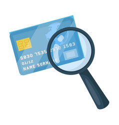plastic credit card with a magnifying glass vector image