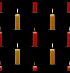 yellow red wax burning candles seamless pattern vector image vector image