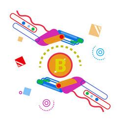 abstract hand holding bitcoin digital web money vector image vector image