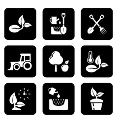 agriculture black icon set vector image