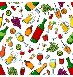 Alcohol drinks and fruits seamless pattern vector image vector image
