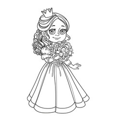 beautiful princess holding bouquet of lilies in vector image