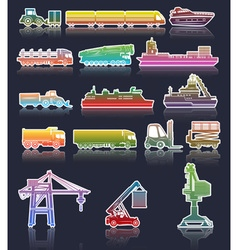 Colorful set of industrial transport icons vector