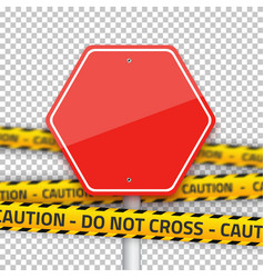 Road Stop Sign with Yellow Police Strip vector image vector image