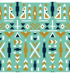 Seamless colorful aztec pattern Green background vector image