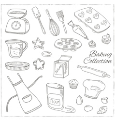 Set of Baking tools Hand drawn collection vector image vector image