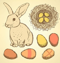 Sketch Easter set in vintage style vector image vector image