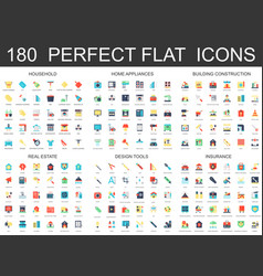 180 modern flat icons set of household home vector image vector image