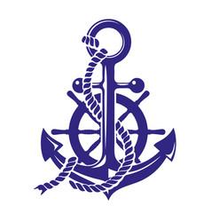anchor and ships wheel symbol vector image