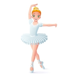 cute smiling young dancing ballerina girl vector image