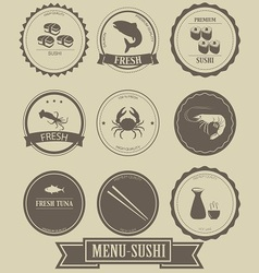 Menu Sushi Label Design vector image