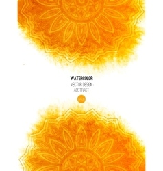 Orange watercolor brush wash with pattern - round vector image