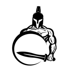 Warrior with shield and sword vector