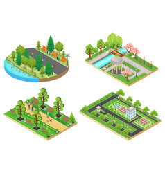 3d isometric cartoon style green city public park vector