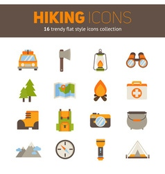 a set hiking flat icons in modern style vector image