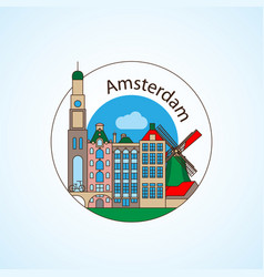 amcterdam netherlands detailed silhouette vector image