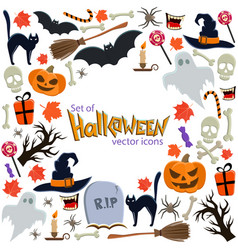 background of halloween icons with round frame vector image