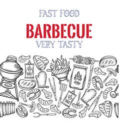 barbecue seamless border vector image