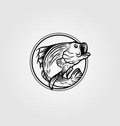 bass fish circle logo vintage template design vector image