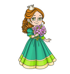 Beautiful princess holding bouquet of pink lilies vector