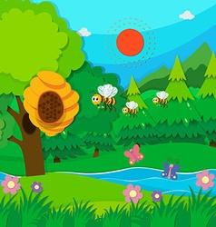 Bee flying around beehive vector