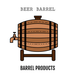 beer wooden barrel with a tap color flat icon vector image