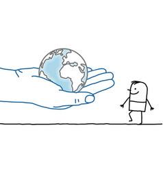 Big hand and cartoon character - earth and man vector