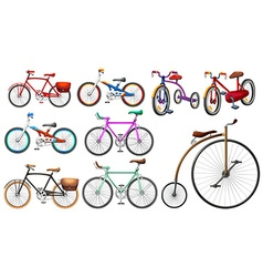 Bike set on white vector image