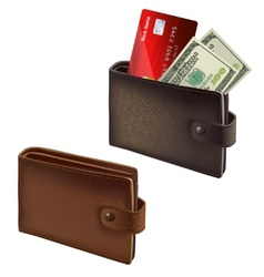Black and brown leather wallets vector