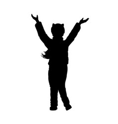 black silhouette of little girl raises hands vector image