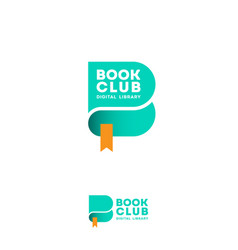 book club logo digital library emblem green vector image