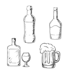 Bottles of wine liquor whiskey and beer vector
