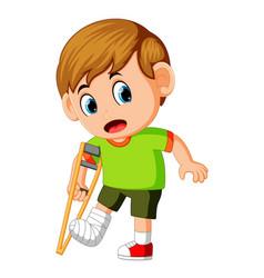 boy with broken leg vector image