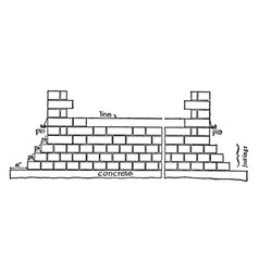 Brickwork built vintage engraving vector