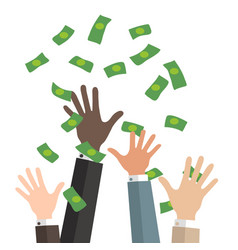 Bussiness hands catch falling money vector