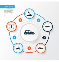 Car icons set collection of wheelbase stick van vector
