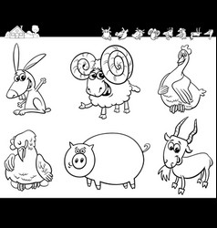 cartoon farm animals collection color book vector image